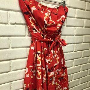 Express Red Floral Print Strapless Dress